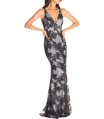 women's dress the poppulation sharon embellished lace evening gown, size small - black