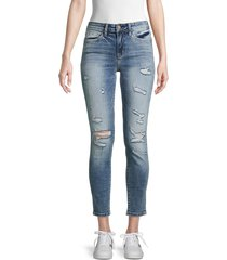 flying monkey women's mid-rise distressed ankle jeans - blue - size 28 (4-6)