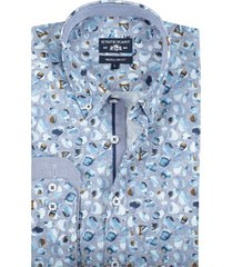 state of art casual shirt blauw print