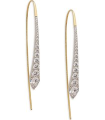 adriana orsini women's goldplated & rhodium-plated sterling silver & crystal threaded drop earrings