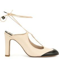 chanel pre-owned ankle-tie pumps - neutrals