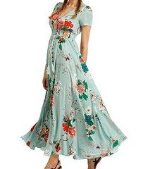 vestidos de mujer de impresión con cuello en v vestidos de playa - verde
