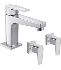 kit torneira para lavatório de mesa de bica baixa com 2 acabamentos level cromado