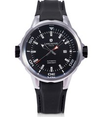 lancaster designer men's watches, space shuttle automatic stainless steel and black silicon men's watch