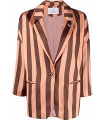 manuel ritz striped drop-shoulder blazer - brown