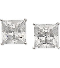 arabella 14k white gold earrings, swarovki zirconia princess cut stud earrings (9-3/4 ct. t.w.)