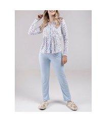 pijama longo feminino azul