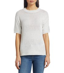saks fifth avenue women's collection textured striped sweater - denim chambray - size s