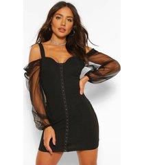 mini-jurk met blote schouder en mouwen van mesh, zwart