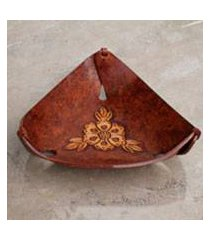 leather catchall, 'brown sunflower charm' (peru)
