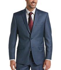 calvin klein blue slim fit sharkskin x-fit suit