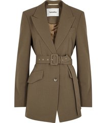 honor brown belted blazer
