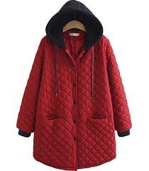 cappotto in cotone con tasche con cappuccio e patchwork
