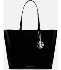 armani exchange women's patent shopping tote bag - black
