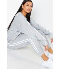 plus sweater met zijstreep en joggingbroek set, grijs
