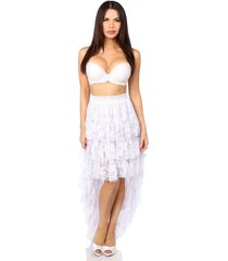 fashion and lace white  high low skirt