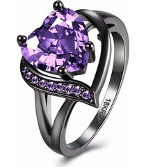 inalis anello da donna con strass in zircon con cuore in rame