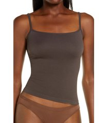 skims stretch rib straight neck camisole, size small in soot at nordstrom
