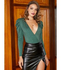 yoins green wrap design deep v neck long sleeves bodysuit