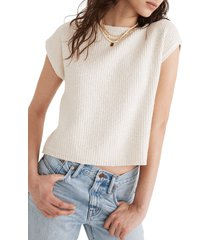 women's madewell boatneck button-back sweater, size xx-small - ivory