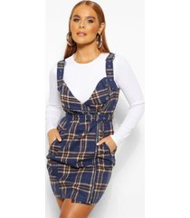 flannel biker detail pinny dress, navy