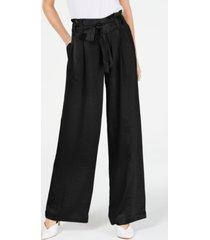 inc satin wide-leg paper bag tie waist pants, created for macy's