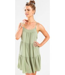 myrine subtle tier shift mini dress - sage
