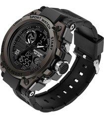 reloj deportivo hombre cuarzo militar lujo sanda 739 negro