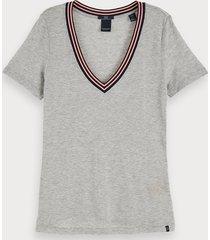 scotch & soda t-shirt met v-hals en korte mouwen