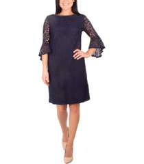 ny collection petite bell-sleeve lace dress