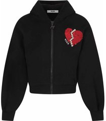 msgm black sweatshirt for girl with heart