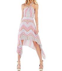 danela halter-neck geometric-print dress
