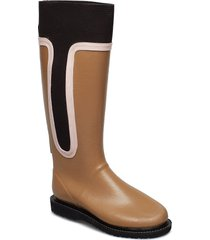 high rubber boot regnstövlar skor brun ilse jacobsen
