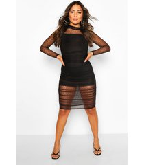 petite dobby mesh ruched midi dress, black