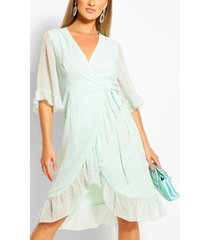 dobby chiffon wide sleeve midi wrap dress, mint