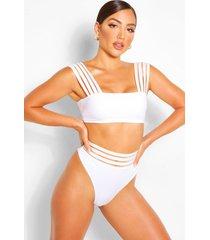 mesh detail bikini thong, white