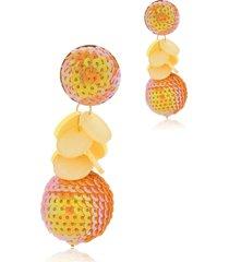 brinco le diamond paetê com pingente confete laranja