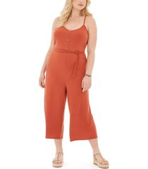 full circle trends trendy plus size ribbed belted jumpsuit