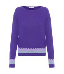 blusa feminina tricot zig zag - roxo