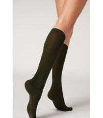 calzedonia tall wool and cotton socks woman green size tu