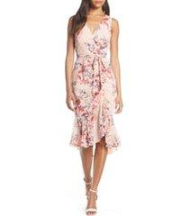 women's eliza j floral ruched chiffon faux wrap dress