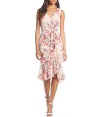 women's eliza j floral ruched chiffon faux wrap dress