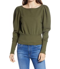 women's ag walker puff shoulder sweatshirt, size x-small - green