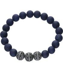 bracciale elastico con pietre rotonde blu e acciaio per uomo