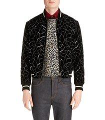 men's saint laurent embroidered velvet varsity jacket