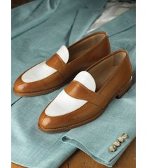 handmade men brown and white leather shoes, men slip ons, men dress shoes