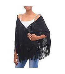 suede shawl, 'keraton elegance in ebony' (indonesia)