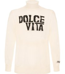 mc2 saint barth white blended cashmere sweater dolce vita jacquard