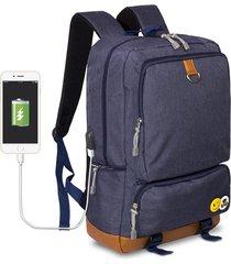 mochila de tejido oxford impermeable para viaje e-hot - azul oscuro