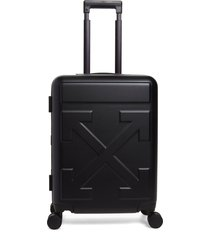 off-white arrow hard side trolley wheeled suitcase - black